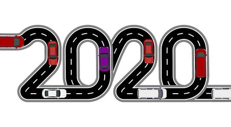 2020 New Year. The road is stylized inscription. Cars and vans. Isolated on white background. illustration Stock fotó - 129803862