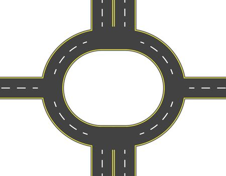 Road, highway, roundabout top view. Two and four lane roads with markings. illustration