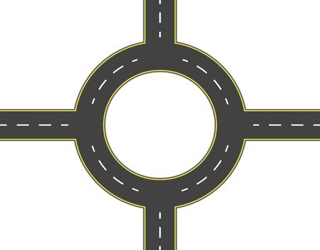 Road, highway, roundabout top view. Two-lane roads with the same markings. illustration Stock fotó