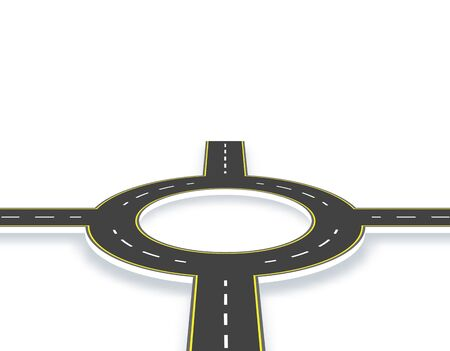 Road, highway, roundabout in perspective with shadow. Two-lane roads with the same markings. illustration Stock fotó