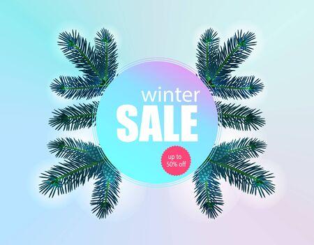 Winter sale banner, flyer. Fir branches  illustration Фото со стока