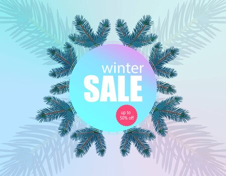 Winter sale banner, flyer. Background from fir branches in a circle.  illustration