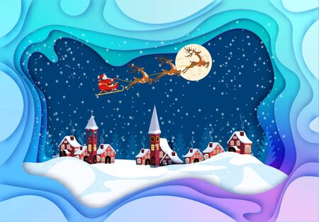 Merry Christmas and Happy New Year. Greeting card pulled out of paper. Santa Claus, moon, snow, houses, church. illustration