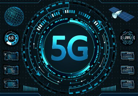 5G New wireless high-speed Internet connection and WiFi. Spunnik navigation. Illustration