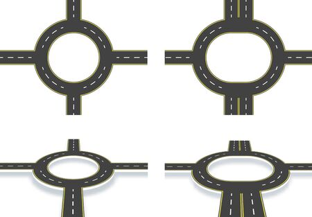 Road, highway, roundabout, top view and perspective view with shadow. Two-lane and four-lane roads with the same markings. illustration Vectores
