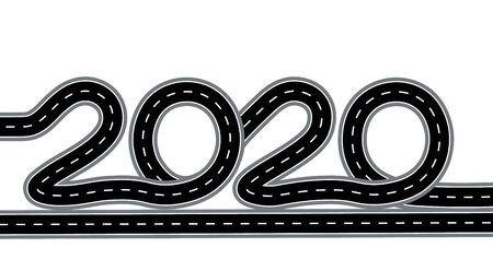 2020 New Year. The road is stylized as an inscription. Isolated on white background. Vector illustration