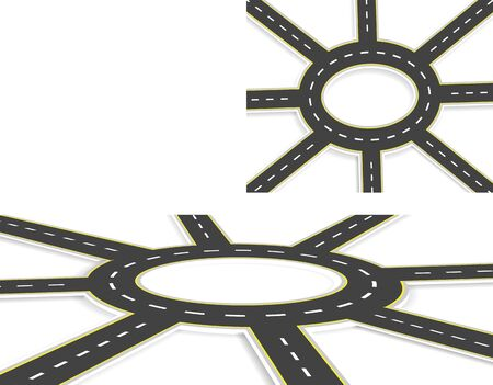 Six Roads, highway, roundabout, top view and perspective view with shadow. Two-lane roads with the same marking at an angle. illustration Banco de Imagens