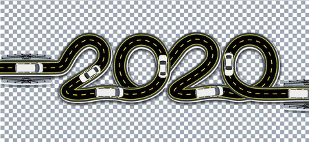 2020 New Year. A road with markings and bridges is stylized as an inscription with a shadow. On a transparent background. Vector illustration Illustration