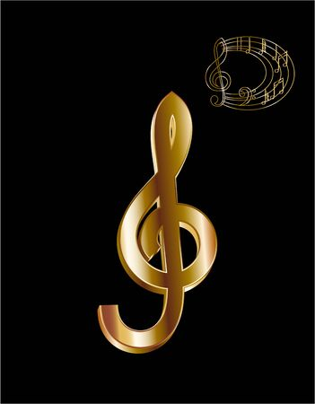 Sign. Massive 3D treble clef. Gold jewelry. Modern and elegant design style. illustration Ilustração