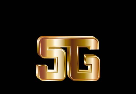 Sign. Massive 3D golden 5G sign. High speed internet technology. illustration