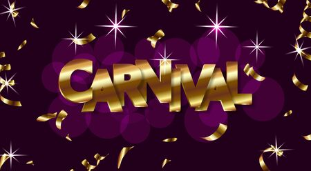 Carnival design with shiny lettering and sweets, party poster, dance party flyer, music party banner, carnival invitation. Vector illustration