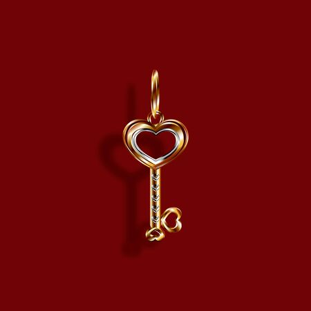 Valentine s Day. Gold pendant Charm in the shape of a Heart Key in white and yellow gold. 3D with shadow. Vector illustration