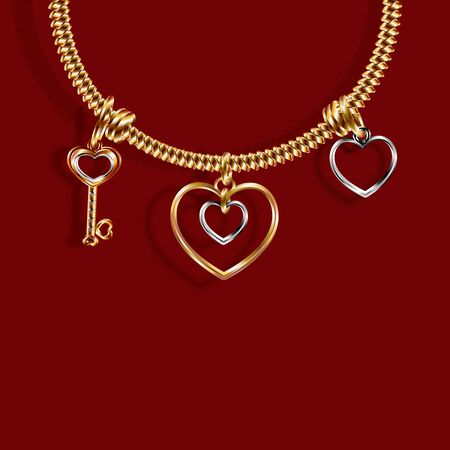 Valentine s Day. Gold bracelet with three charms Charm in the shape of a Key, a heart of white and yellow gold. 3D with shadow. Vector illustration