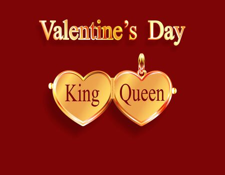Valentine s Day. King and queen. Gold medallion. Heart-shaped pendant in yellow gold. 3D with shadow. Vector illustration Ilustrace