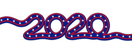 US Presidential Election 2020. Ribbon inscription in flag color. Vector illustration