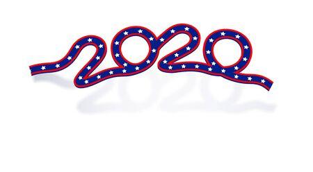 US Presidential Election 2020. Ribbon inscription in flag color with shadow. Vector illustration Векторная Иллюстрация