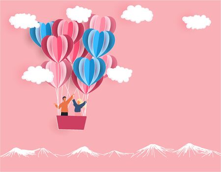 Valentine s Day. A young joyful couple is flying in the same boat. Balloons in the shape of hearts carved from paper.  illustration Stock Illustration - 137485563