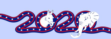US Presidential Election 2020. Symbol of the Republican and Democratic Party. Elephant and Donkey inscription in flag color. illustration