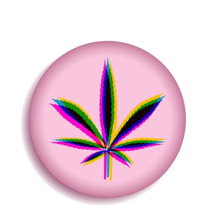 Icon with a colored pattern of hemp leaf on a pink background. illustration Ilustrace