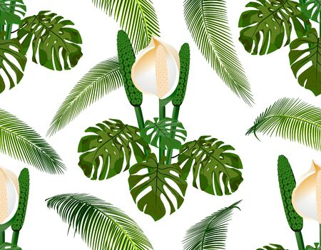 Jungle. Green tropical palm leaf, monster flowers. Seamless floral pattern. Isolated on white background. illustration Illusztráció
