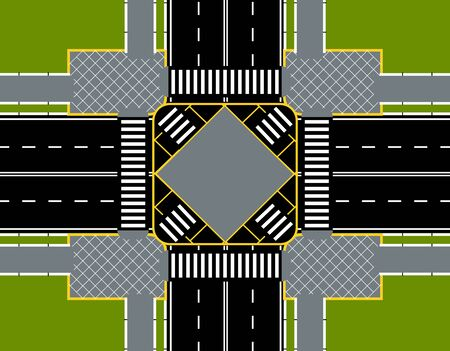 City street crossroads with zebra crosswalk. Place for advertisement, announcement. Close-up with lawns. Vector illustration Vector Illustration