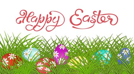 Happy Easter Lettering. Eggs painted with drawings on the grass.  illustration