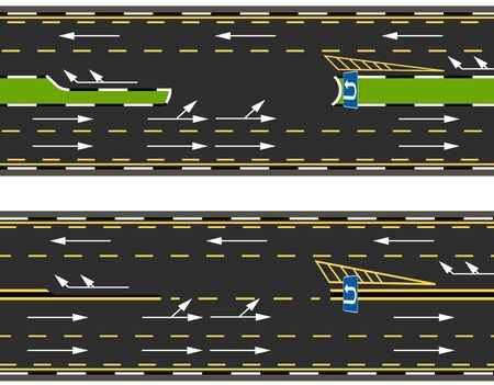 Top view of two types of U-turns on the highway, road, street. Road marking.  illustration Imagens