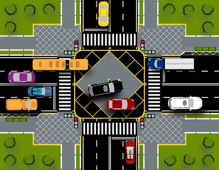 City intersection with a pedestrian crossing and traffic lights. Traffic Close-up with lawns.  illustration