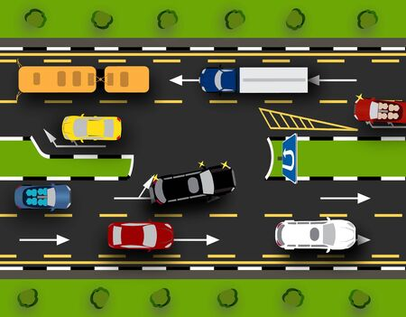 City street with a U-turn for cars. Traffic Close-up, lawns. Vector illustration
