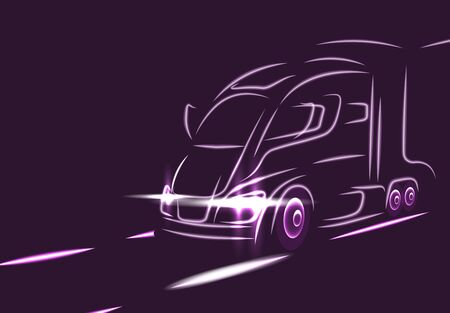 Neon silhouette of a truck on the highway. Electric car. Abstract modern style.  illustration