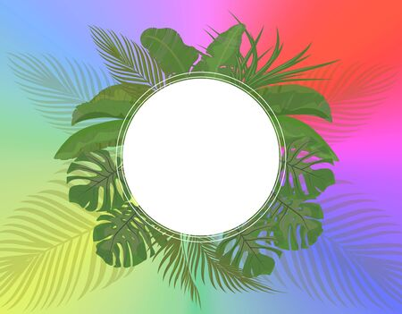 Leaves of tropical palm trees in pastel colors on a bright summer background. Monstera, agave, banana. Place for advertising, announcements. Vector illustration Ilustração