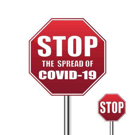 Coronavirus - caution road Sign. Warning about Coronavirus outbreak. COVID-19 danger and public health risk disease. Pandemic. Vector illustration