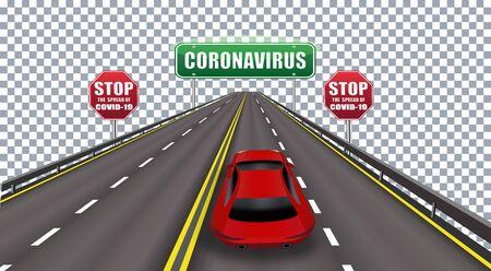 Coronavirus - caution, traffic sign prohibited. COVID-19 Hazards and public health hazards. Pandemic. Vector illustration