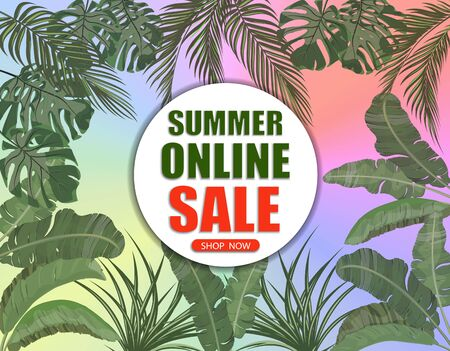 Summer online sale. Banner on the background of palm leaves on all sides and a multi-colored gradient. Shop now. illustration