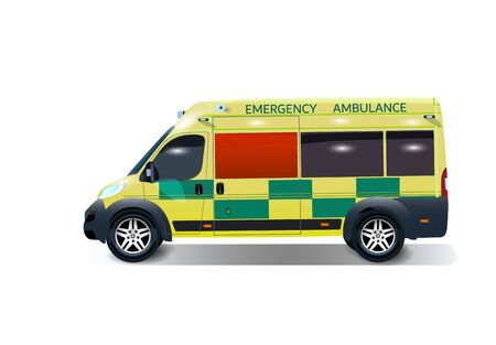 City ambulance with shadow. Varian UK. Side view from the point of view. illustration Ilustração