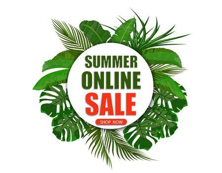 Summer online sale. Shop now. Banner on the background of palm leaves. illustration