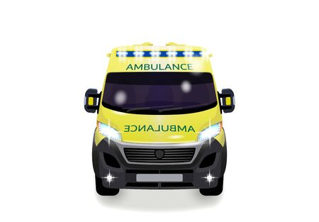 City ambulance with shadow. Varian UK. Front view from the point of view. illustration Imagens