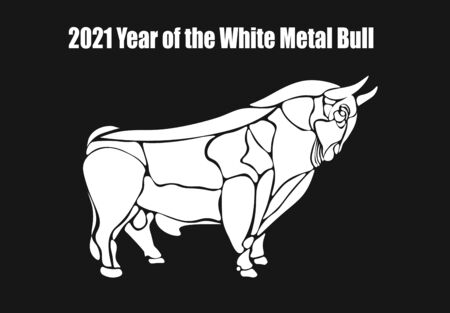 2021 year of the white metal bull. Happy New Year. Silhouette. Lunar horoscope sign. Vector illustration