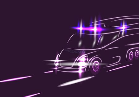 Neon silhouette of an ambulance on a highway. Special signals. Electric car. Abstract modern style. Vector illustration