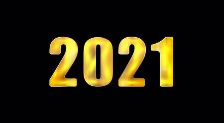 2021 inscription in gold numbers on a black background. Happy New Year. Vector illustration Ilustração