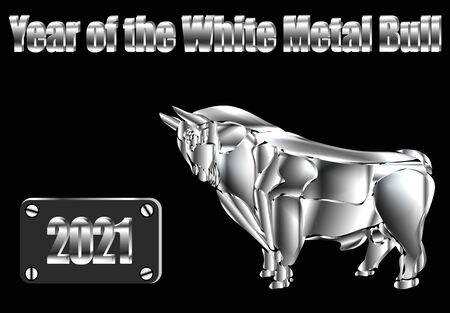 Inscription 2021 year of the white metal bull. Happy New Year. Steel Silhouette. Lunar horoscope sign. illustration