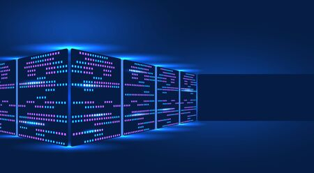 Server rack, blockchain technology, data center, concept of cloud storage and data exchange. Place for advertising. illustration