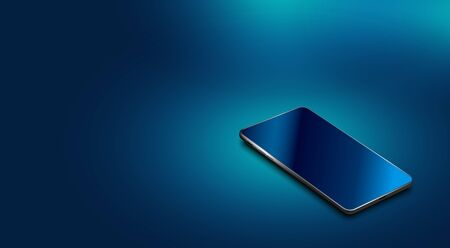A modern smartphone with a glass screen lies on the surface. Shadow, glare. illustration