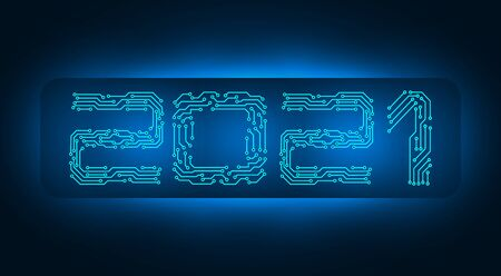 2021 New Year. Banner inscription, circuit board. illustration Ilustração