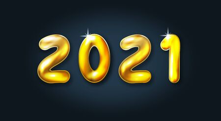 Happy new year 2021. Festive golden metal numbers. Realistic convex sign. Holiday poster or banner design. Vector illustration