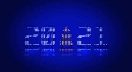 Happy new year 2021. Holiday inscription from numbers. GUI illustration