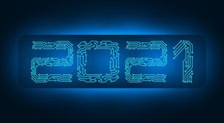 2021 New Year. Banner inscription, circuit board. illustration Imagens