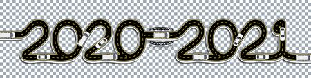 2020-2021 New Year. Cars Traffic. The road with markings is stylized as an inscription. On a transparent background with a shadow. illustration