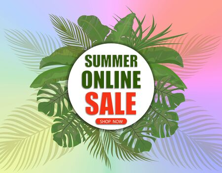 Summer online sale. Shop now. Banner on the background of palm leaves and a multi-colored gradient. illustration