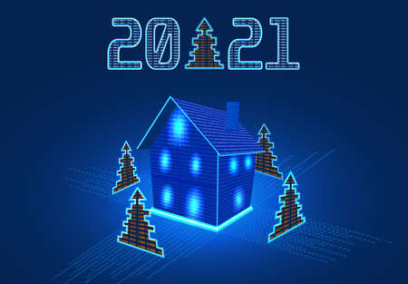 Happy New Year 2021. Festive inscription, house and Christmas tree from numbers. Computer interface. GUI illustration